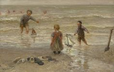 Bernardus Johannes Blommers (Den Haag 1845-1914) Spelen in de branding - Kunsthandel Simonis en Buunk, Ede (Nederland).