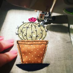 Cute little cactus in progress! #freemotionembroidery #cactus #prickly #applique #embroidery #textiles