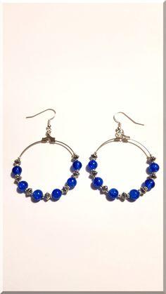 Boucles d'Oreilles perles bleues et argentées : Boucles d'oreille par aliciart