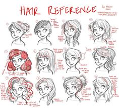"""thediabeticspoon: """" Drawing realistic and stylish hair has always been a problem but thankfully I found this useful reference sheet. """" [Source'd]"""