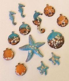 Sea Inspired Torch Fired Enamels from Colleen