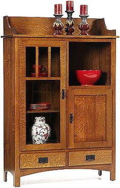 Classic Mission pottery pantry..shown in quarter sawn white oak but available in other woods & stains..