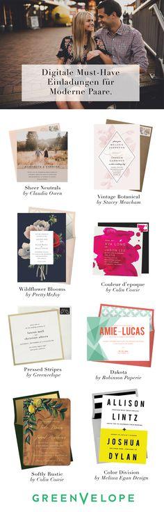 Von Vintage Botanicals bis zu modernen Fotoeinsätzen, wählen und personalisieren Sie die Einladung, die ihrem persönlichen Stil entspricht. Mit all dem Stil und keinerlei Stress waren Hochzeitseinladungen noch nie einfacher als bei Greenvelope.com