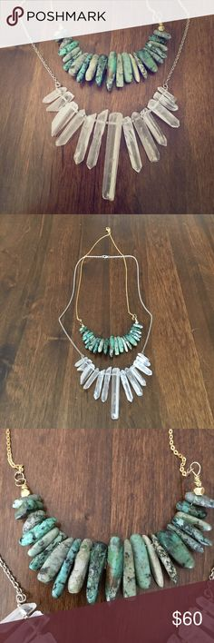 Turquoise & Quartz Necklaces Sterling Silver Genuine Raw Quartz & Gold Tone Genuine Turquoise Necklace Bundle! These necklaces speak for themselves☀️✌🏻 Please ask away with any questions! Jewelry Necklaces