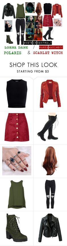 """""""CONTROL- HALSEY Ft. WANDA MAXIMOFF the SCARLET WITCH and LORNA DANE as POLARIS"""" by thegirlinthehood ❤ liked on Polyvore featuring Mother of Pearl, Boohoo, Lafayette 148 New York and AMIRI"""