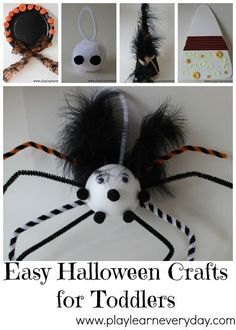 With a box of fun crafts from Bostik we created lots of different easy crafts that any toddler could make. Fun Halloween Games, Halloween Crafts For Toddlers, Easy Crafts For Kids, Halloween Party Decor, Toddler Crafts, Halloween Kids, Kid Crafts, Halloween Stuff, Spider Crafts
