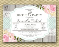 Adult Birthday Invitation - Milestone Birthday - Rustic Wood Ribbon Label Lace Watercolor Floral 2b - Any Colors - ANY EVENT