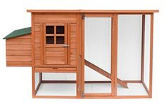 Merax Natural Wood Color Chicken wooden Coop with Nesting House and Tray Cheap Chicken Coops, Chicken Coop Decor, Portable Chicken Coop, Chicken Cages, Chicken Coop Designs, Best Chicken Coop, Chicken Runs, Rabbit Cages, House Rabbit
