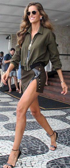 Izabel Goulart: Shirt and skirt – Anthony Vaccarello  Shoes – Francesco Russo