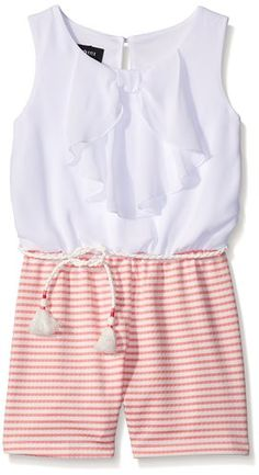 Amy Byer Big Girls Stripe Bow Front Romper, Color White/Coral, X-Large