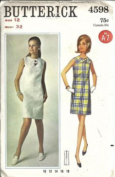 VINTAGE 60 s BUTTERICK 4598 PATTERN WOMENS SLIM FITTING DRESS SIZE 12 -  UNCUT Abiti Vintage ffd1eb6186b