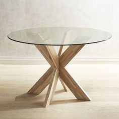 A small table base with a big personality. This solid hardwood base is compact, yet capable of accommodating glass tops to in diameter (sold separately). Its unique design is bold, sophisticated and versatile—combine two to perfectly support a tabletop. Circle Dining Table, Dining Room Table, Glass Round Dining Table, Small Round Kitchen Table, Round Glass, Dining Chairs, Glass Kitchen Tables, Glass Table, Compact Table And Chairs