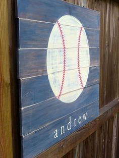 Baseball art Personalized name sign Pallet board art Boys room sports art Boys room Sports art Painted pallet board Wood Pallet Art, Pallet Painting, Pallet Crafts, Pallet Ideas, Wooden Crafts, Pallet Projects, But Football, Sport Football, Baseball Art