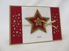 Stampin' Up! ... handmade Christmas card ... deep red, gold and white ... layered star ... stars border punch ... great card!