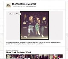 WSJ has been pushing its Instagram feed to Pinterest. Sounds like shiny new. But it's giving Pinterest access to Fashion Week in a very visual way and it's giving WSJ more traffic than it could get via the niche instagram.