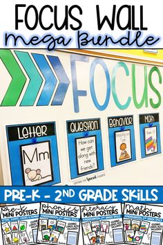 This bundle contains everything you need to create a focus wall in your classroom! Editable files are included for the focus wall AND the mini posters in both Adobe and PowerPoint format. The mini posters are the perfect way to display your goals and objectives.  The bundle contains a variety of pre-k through 2nd grade phonics, reading, writing and math skills and is a great option for kindergarten, first grade, second grade, and special education classrooms. By Supports for Special Students