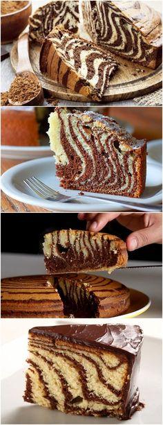 Divertido e muito gostoso! As crianças adoram esse bolo zebra! Prepare a massa. Enxaguar o óleo com açúcar. #receita#bolo#torta#doce#sobremesa#aniversario#pudim#mousse#pave#Cheesecake#chocolate#confeitaria