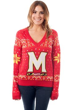 Women's College Christmas Sweater: University of Maryland. Go Terrapins!