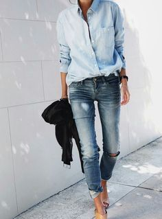 denim shirt and skinny denim jeans - perfect casual spring or fall outfit