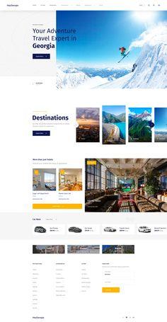 Dribbble - home_page.png by Nicholas Ødegaard Travel Website Design, Website Design Layout, Travel Design, Web Layout, Layout Design, Website Design Inspiration, Web Designer Skills, Branding, Site Vitrine