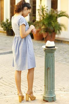 Alicia Fit and Flare Dress Blue
