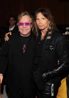 Musicians Elton John and Steven Tyler attend the 19th Annual Elton John AIDS Foundation Academy Awards Viewing Party at the Pacific Design Center on February 27, 2011 in West Hollywood, California.