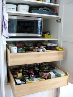 pantry made from ikea akurum cabinet + komplement drawers cut to fit