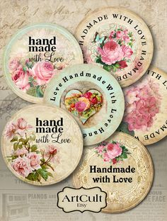 HANDMADE WITH LOVE - Printable Download Digital Collage Sheet 2 inch size round labels print your own stickers art cult graphics