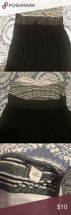 Wet seal strapless dress Brand wet seal, size large, strapless, studded, patterned sweetheart top, good length, good condition Wet Seal Dresses Strapless