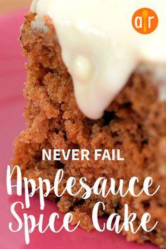 Never Fail Applesauce Spice Cake - Dessert Recipes Spice Cake Recipes, Apple Recipes, Baking Recipes, Recipe Spice, Easy Cake Recipes, Recipe Box, Great Recipes, Kefir, Applesauce Cake Recipe