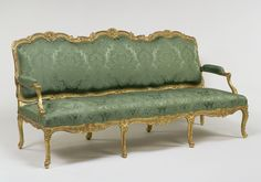 Settee; Jean Avisse (French, 1723 - after 1796, master 1745); Paris, France; about 1750 - 1755; Carved and gilded oak; modern velvet upholstery; 106.7 x 214.6 x 91.4 cm (42 x 84 1/2 x 36 in.); 84.DA.70
