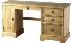 Dressing Table Computer Desk Corona Solid Pine Wax Finish 4 Drawer 1 Door: Amazon.co.uk: Kitchen & Home