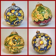 The inimitable charm of authentic craftsmanship & the exquisite beauty of traditional Sicilian motifs artfully blend into these unique Christmas ornaments. They are made by hand & richly decorated by Ghenos, a small family run company in Messina specializing in   Baroque & Istoriato designs from Sicilian art heritage.