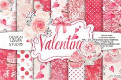 Watercolor Sweet Valentine digital paper pack - floral seamless background collection