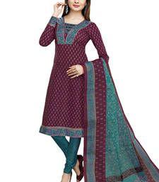 Buy Maroon & Blue unstitched churidar kameez with dupatta-VN-771 dress-material online