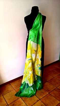Silk Scarf handmade Sun Color with green by InSetArte on Etsy