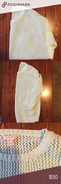 🎉HP🎉 J. Crew Mint open-work knit sweater EUC Excellent Condition J.crew open-work knit sweater. Mint with three-quarter sleeves. Ribbed collar and hem. 100% Cotton J. Crew Sweaters Crew & Scoop Necks
