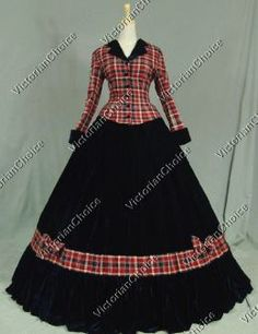 Civil War Victorian High Quality Tartan Velvet Dress Gown Reenactment Theatrical Christmas Dickens Caroler Costume