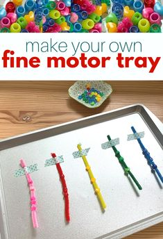 Easy Fine Motor Tray for Preschool - No Time For Flash Cards