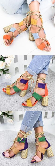 Casual Suede High Heel Lace Up Sandals I Love My Shoes, Fab Shoes, Cute Shoes, Me Too Shoes, Lace Up Sandals, Lace Up Heels, High Heels, Suede Sandals, Style Outfits