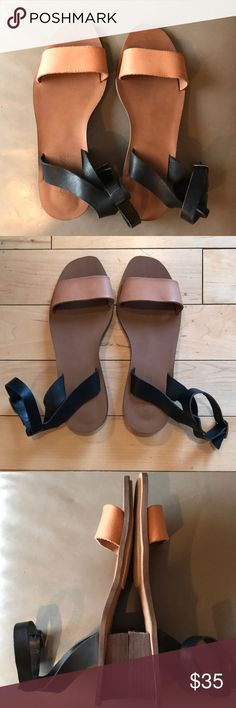 Madewell ankle strap sandals Black and Tan leather sandals, barely worn once! Chunky black heel, buckle ankle strap. These sandals are made for narrow feet, which is why I can't wear them. Excellent condition, almost new! Madewell Shoes Sandals