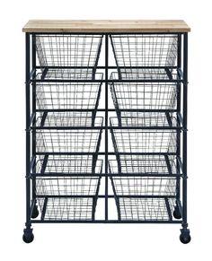 Modern Black Metal Utility Cart 4 Wheels 8 Storage Baskets Wood Decor 50205