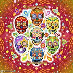 """Colorful Calaveras"" Sugar Skull Art: Day of the Dead Art by Thaneeya McArdle"