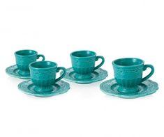 Exquisite Lace Turquoise 4 darab Csésze és Kistányér 50 ml - Vivre. Turquoise, Mugs, Tableware, Lace, Kitchen, Dinnerware, Cooking, Tablewares, Racing