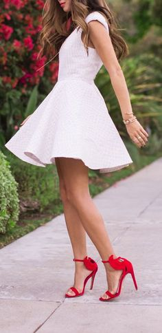 Mini White Dress With Red Heels