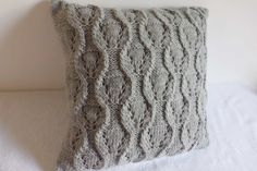 Gray Slate Decorative Cable Knit Pillow Cover by Adorablewares