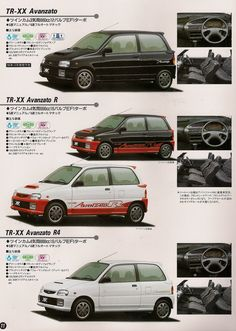 Little hot hatches with 659 cc four cylinder, 16 valve engine, or a 12 valve 3 cylinder. Both engines have same displacement and same horsepower and torque. So why two different engines? Truck Flatbeds, Classic Japanese Cars, Kei Car, Car Brochure, Japan Cars, Daihatsu, Car Posters, Cars And Motorcycles, Honda