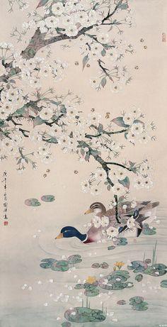 Lotus Art, Japan Painting, Korean Art, China Art, Traditional Paintings, Animes Wallpapers, Art Graphique, Japan Art, Chinese Painting