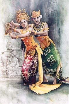water color painting on paper Balinese dancer Traditional Paintings, Traditional Art, Bali Painting, Mask Drawing, Poster City, Indonesian Art, Vietnam, Couple Art, Illustrations And Posters