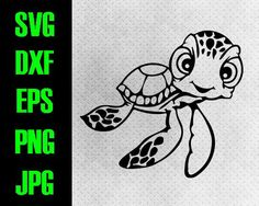 Finding Nemo Squirt - svg, dxf, eps, png, jpg cutting files - cricut, silhouette - Digital iron on - Baby Squirt, Nemo, Crush, Dory Noggin
